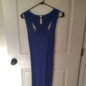 Long Blue Cotton Maxi Dress, Size M